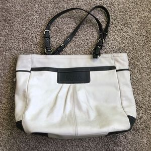 Coach White and Gray Leather Tote